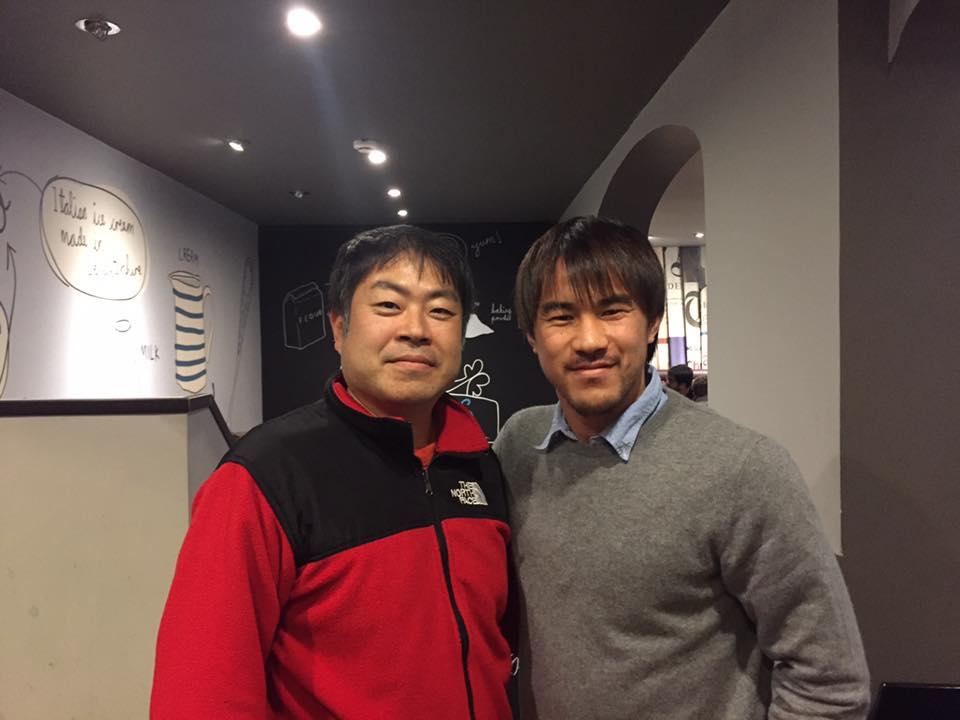 サッカー岡崎選手と対面